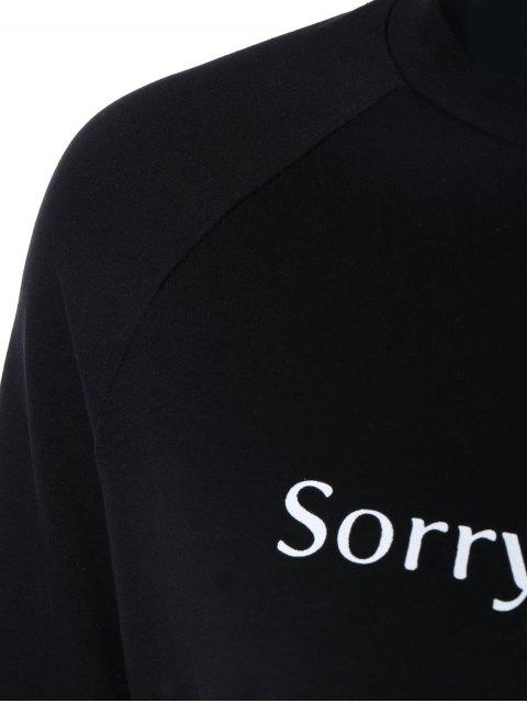 outfit Letter Printed Raglan Sleeve Sweatshirt - BLACK S Mobile