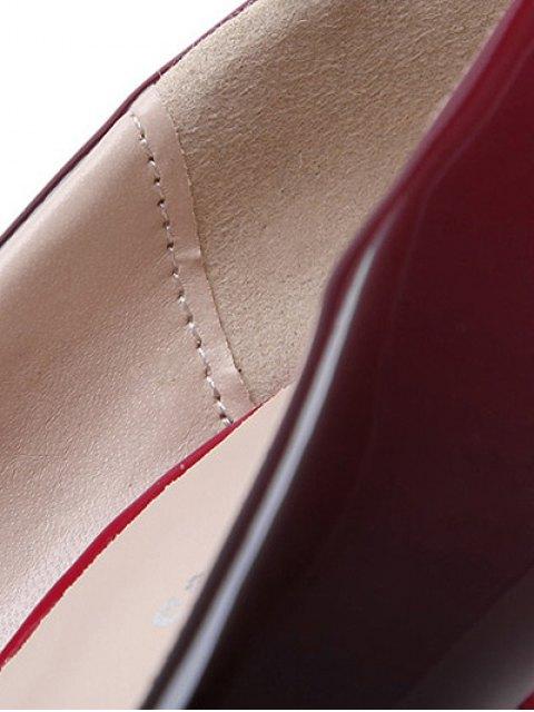 lady Gradient Color Patent Leather Platform Pumps - WINE RED 39 Mobile