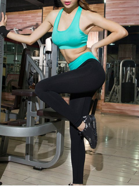 best Solid Color Crop Top and Color Block Leggings Sporty Suit - GREEN M Mobile