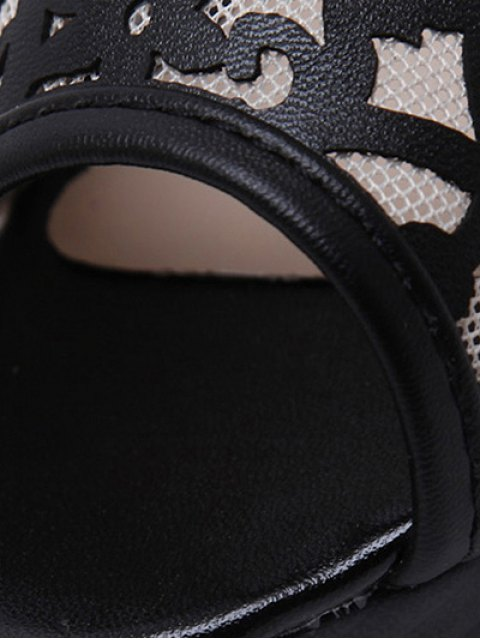 fashion Black Hollow Out Mesh Peep Toe Shoes - BLACK 38 Mobile