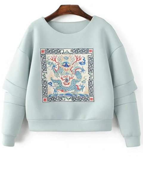 trendy Embroidered Round Neck Cutout Sweatshirt - LIGHT BLUE S Mobile