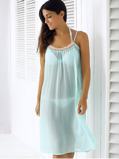 chic Light Blue Spaghetti Strap Chiffon Dress - LIGHT BLUE XL Mobile