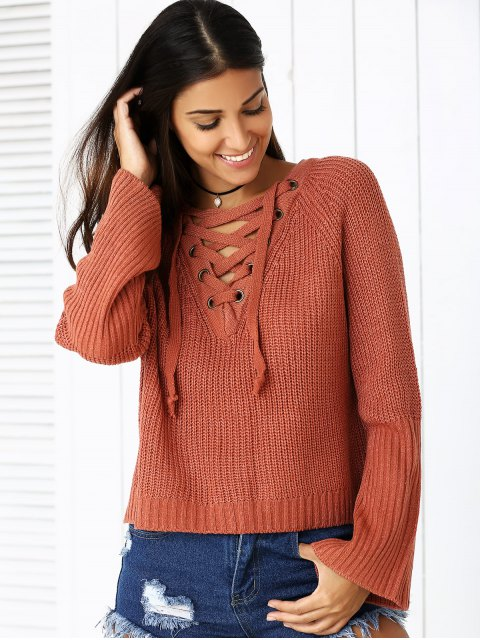 affordable Lace Up V Neck Long Sleeve Sweater - BRICK-RED ONE SIZE Mobile