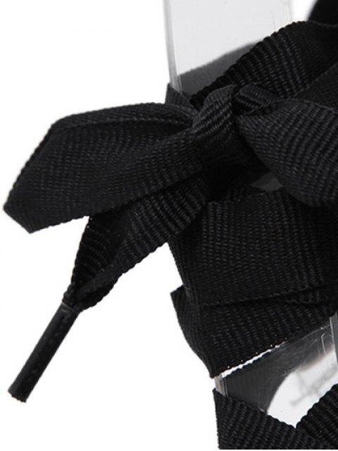 new Stiletto Heel Transparent Lace-Up Sandals - BLACK 40 Mobile