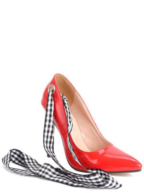 best Asymmetric Ribbons Stiletto Heel Pumps - RED 38 Mobile