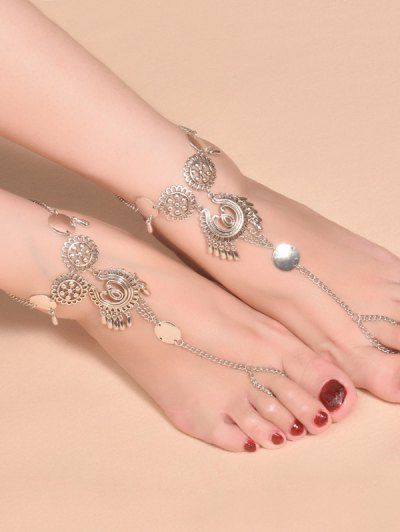 Water Drop Sequins Anklet - SILVER  Mobile