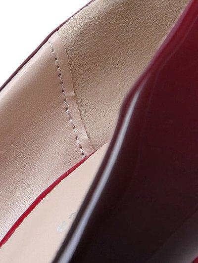 Gradient Color Patent Leather Platform Pumps - WINE RED 37 Mobile