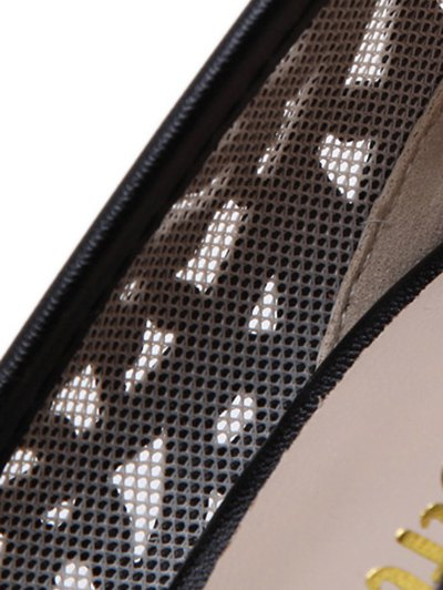 Black Hollow Out Mesh Peep Toe Shoes - BLACK 38 Mobile