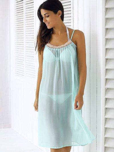 Light Blue Spaghetti Strap Chiffon Dress - LIGHT BLUE XL Mobile