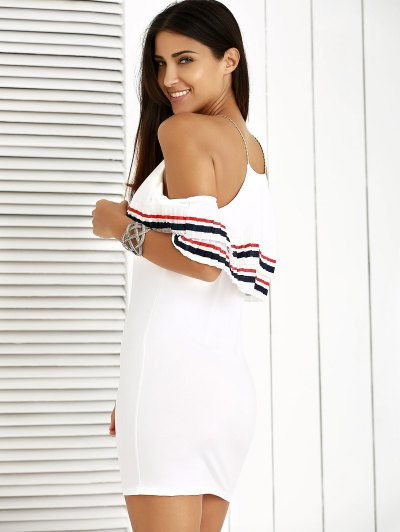 Cami Striped Flounce Ruffles Cold Shoulder Dress - WHITE M Mobile