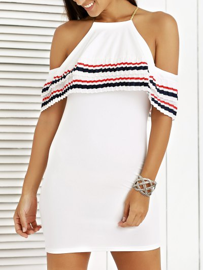 Cami Striped Flounce Ruffles Cold Shoulder Dress - White