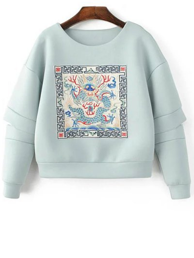 Embroidered Round Neck Cutout Sweatshirt - LIGHT BLUE S Mobile