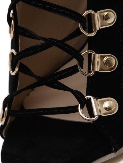 Tie Up Black Stiletto Heel Peep Toe Shoes - BLACK 38 Mobile