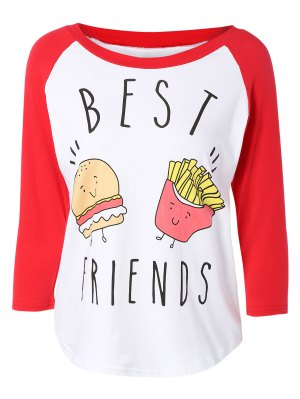 Hamburger Print Raglan Sleeve Baseball T-Shirt - Red