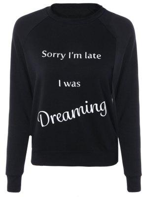 Letter Printed Raglan Sleeve Sweatshirt - Black