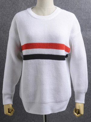 Loose Striped Jewel Neck Long Sleeve Knitwear - White