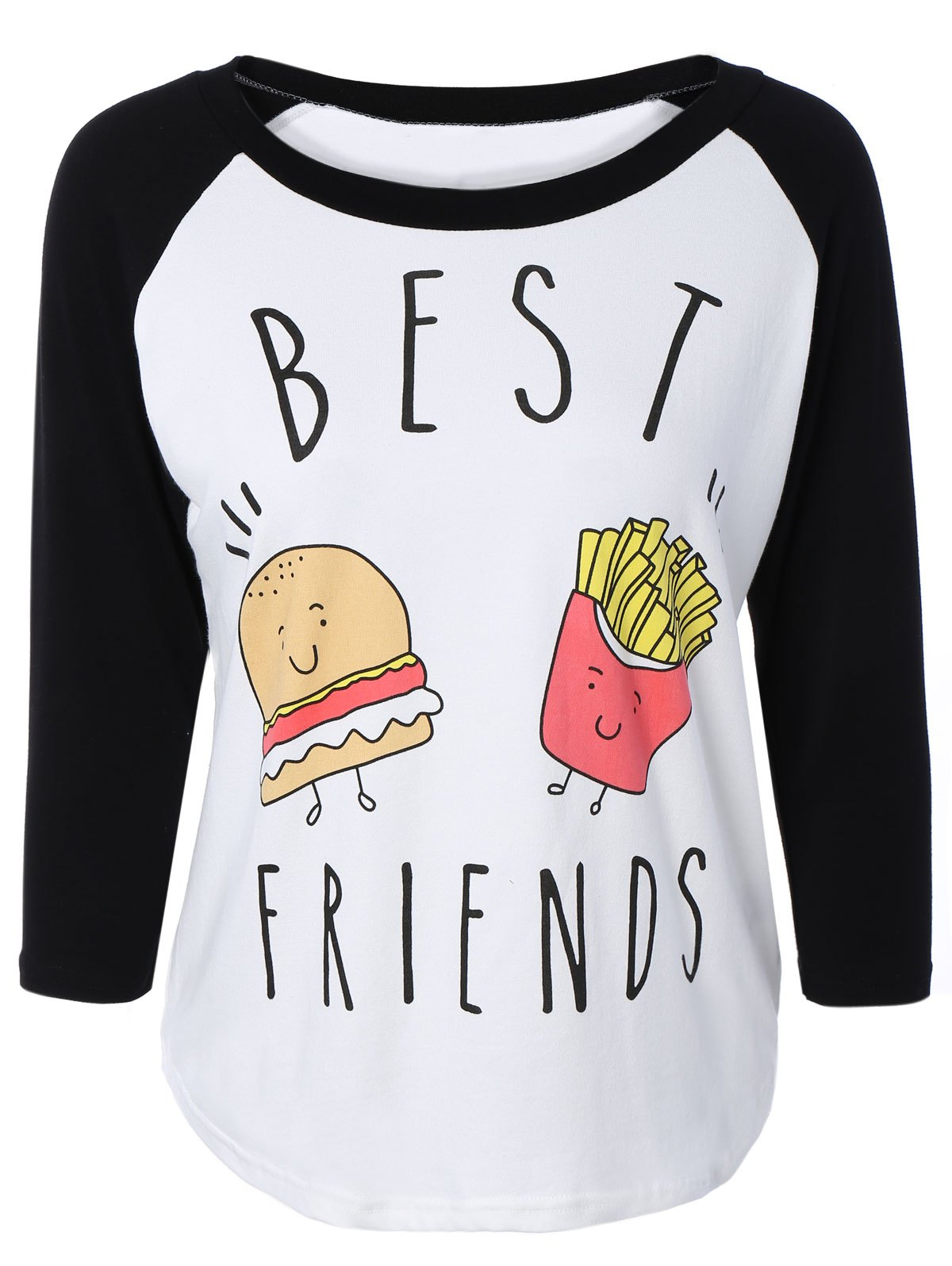Scoop Neck Raglan Sleeve Hamburger Print T-Shirt