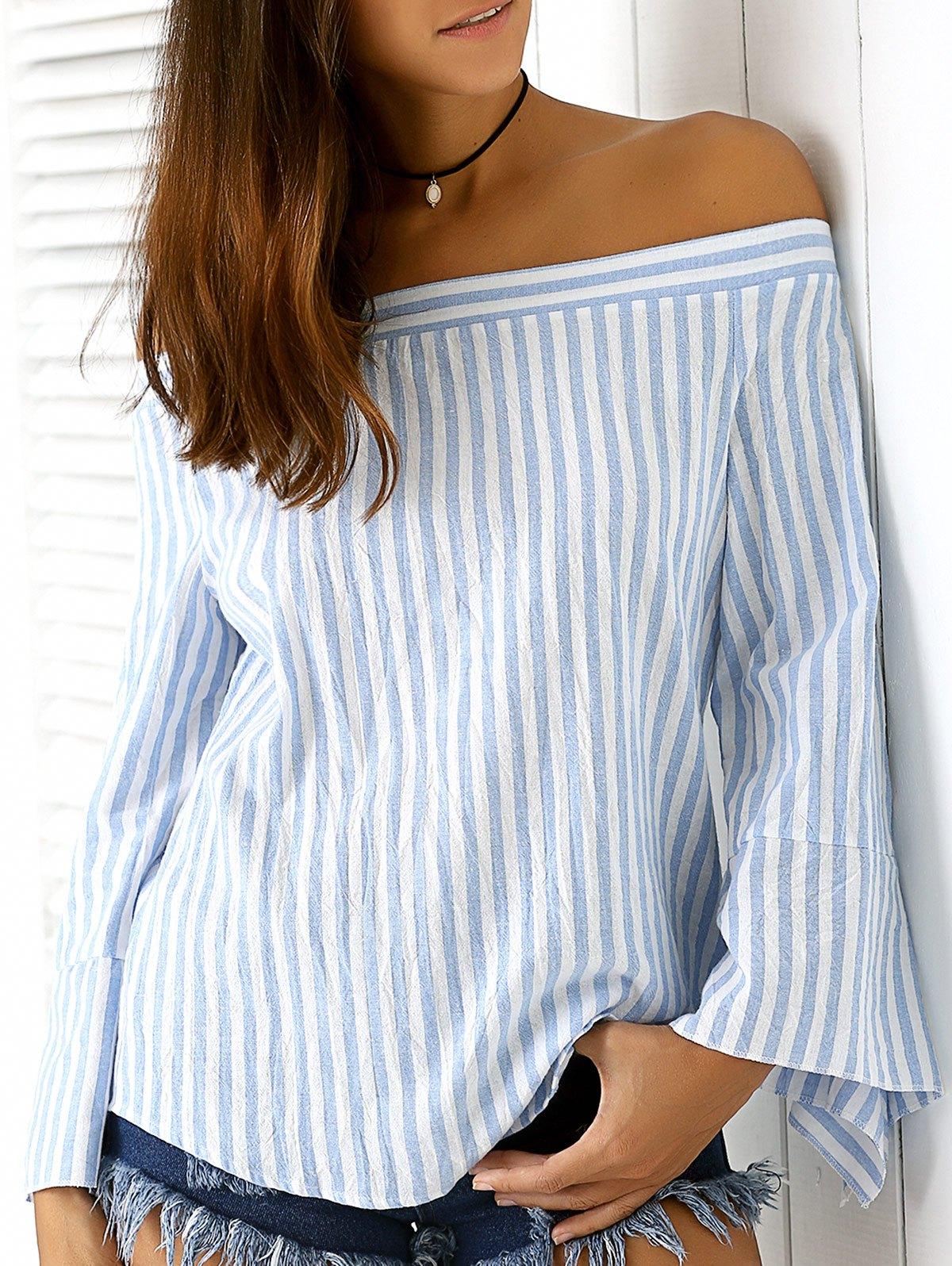 Off The Shoulder Long Sleeve Blue Stripe Blouse