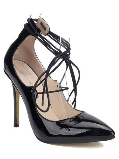 Patent Leather Lace-Up PumpsShoes<br><br><br>Size: 37<br>Color: BLACK