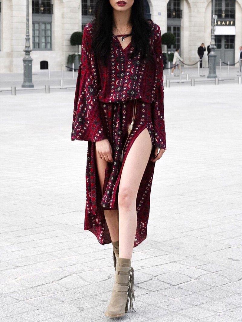 V-Neck Bell Sleeve Tribal Print Dress