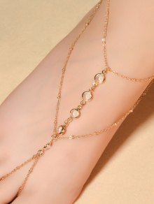 Faux Crystal Beaded Toe Ring Anklet