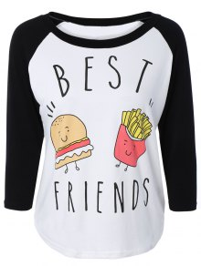 Hamburger Print Raglan Sleeve Baseball T-Shirt