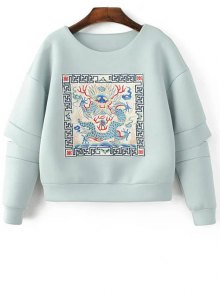 Buy Embroidered Round Neck Cutout Sweatshirt - LIGHT BLUE L