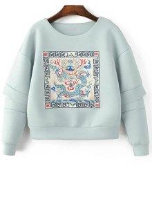 Buy Embroidered Round Neck Cutout Sweatshirt - LIGHT BLUE L