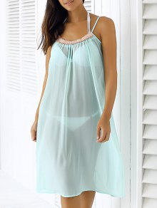 Light Blue Spaghetti Strap Chiffon Dress - Light Blue