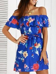 Off The Shoulder Flounce Ruffles Floral Print Dress - Blue