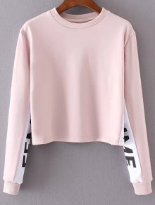 Letter Print Jewel Neck Long Sleeve Sweatshirt - Pink