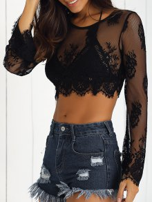 Black Lace Long Sleeve See-Through Crop Top Belly Shirts - Black M