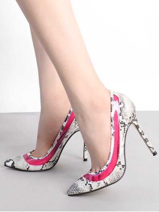 Snake Print Transparent Stiletto Heel Pumps - ROSE 37 Mobile