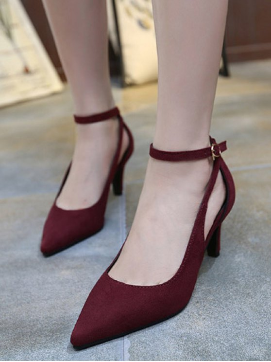 Hollow Out Ankle Strap Stiletto Heel Pumps - WINE RED 37 Mobile