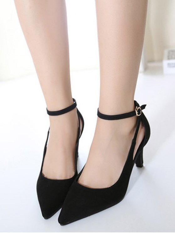 Hollow Out Ankle Strap Stiletto Heel Pumps - BLACK 37 Mobile