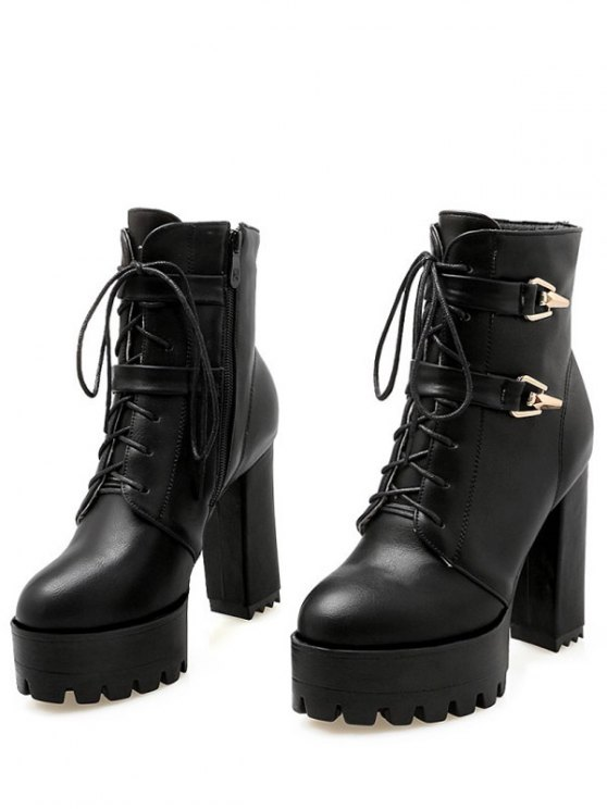 Metal Chunky Heel Black Short Boots - BLACK 39 Mobile