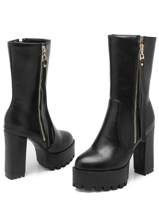 Side Zip Chunky Heel Black Short Boots -   Mobile