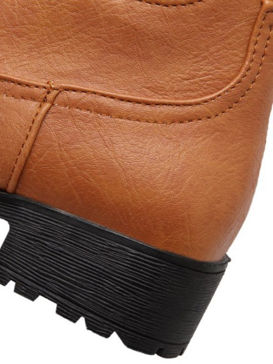 Solid Color Elastic Band Short Boots - BROWN 39 Mobile