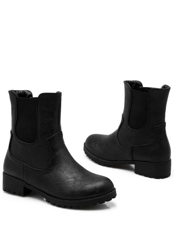 Solid Color Elastic Band Short Boots - BLACK 37 Mobile