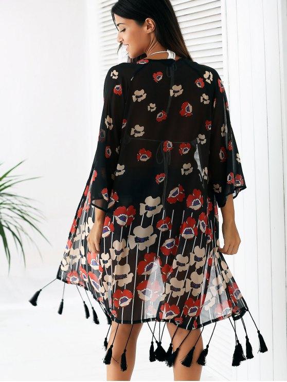 Floral Print 3/4 Sleeve Tassels Spliced Kimono - BLACK S Mobile