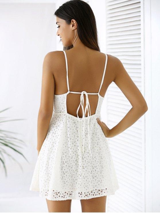 White Lace Spaghetti Straps A Line Dress - WHITE 2XL Mobile