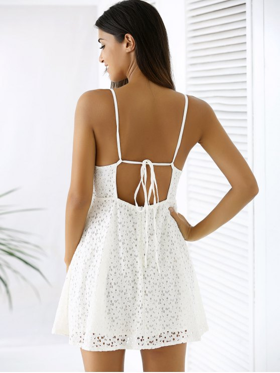 White Lace Spaghetti Straps A Line Dress - WHITE L Mobile