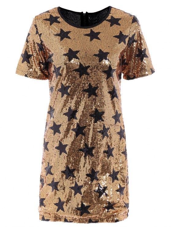 womens Sequins Star Print Round Collar Short Sleeves Dress - GOLDEN XS