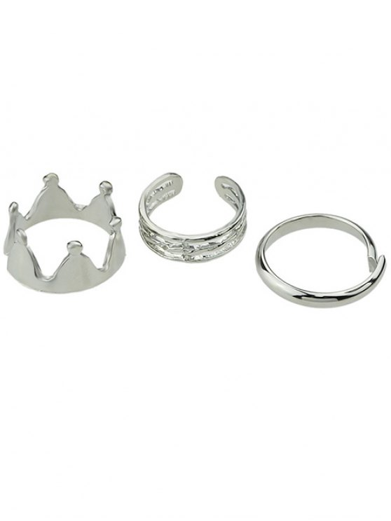 lady Crown Cuff Rings - SILVER ONE-SIZE