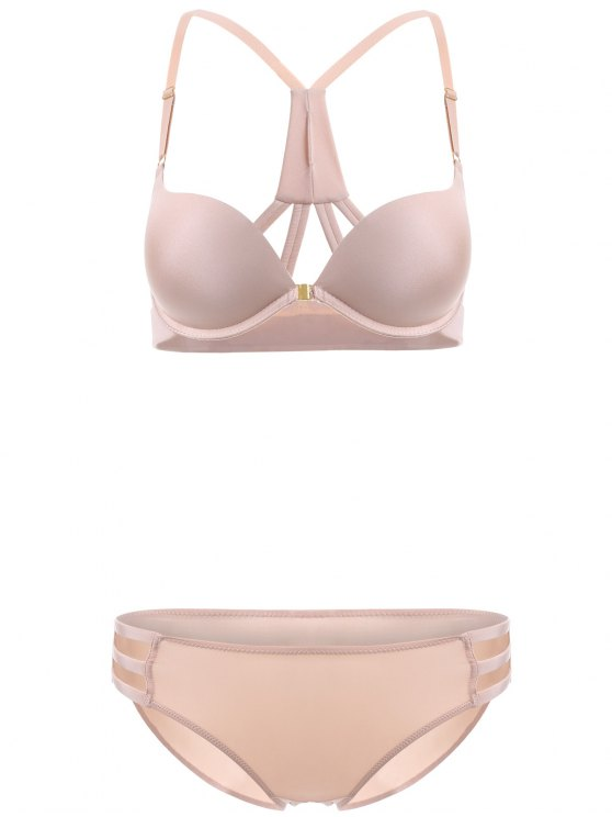 lady Front Closure Solid Color Push Up Bra Set - COMPLEXION 85B