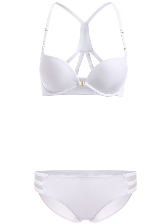 Front Closure Solid Color Push Up Bra Set - WHITE 80B Mobile
