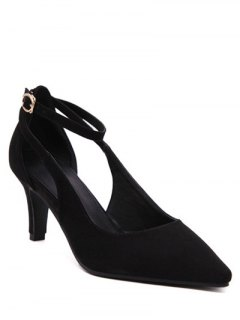 Hollow Out Ankle Strap Stiletto Heel Pumps - Black 39