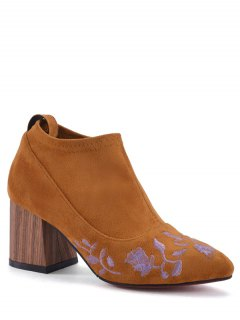 Embroidery Chunky Heel Ankle Boots - Brown 38