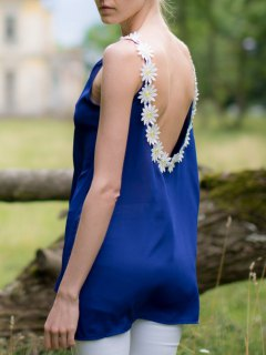 Flower Splicing Jewel Neck Backless Sleeveless Dress - Purplish Blue Xl