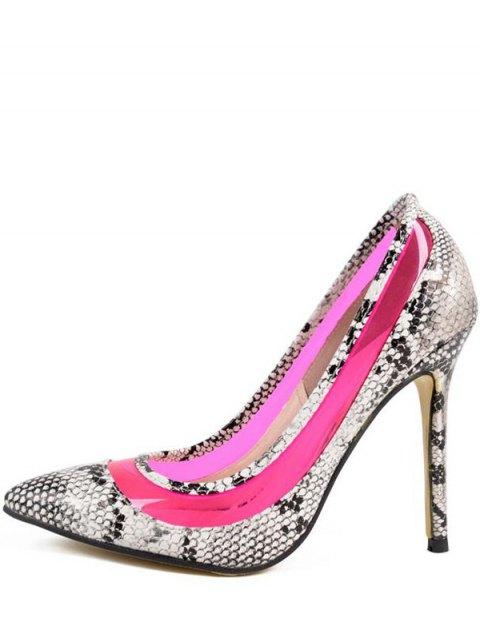 affordable Snake Print Transparent Stiletto Heel Pumps - ROSE 37 Mobile